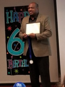 Pastor Charles Lee-Johnson accepting a Certificate of Appreiciation for is radio show - TurnYour Mess Into A Message (1)